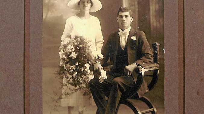 DISCOVERED: Edith Mary Speare and John Curtis in their wedding photo which was tracked down by Robyn Golby.