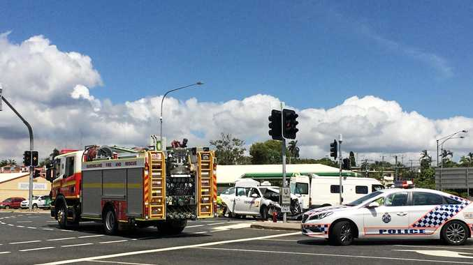 LIGHTS DOWN: A van and a taxi have collided at the intersection of Aerodrome Rd and the Dawson Hwy at Clinton.