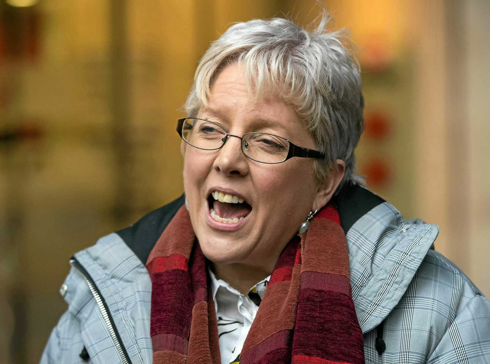 BBC former China editor Carrie Gracie speaks to the media in London after resigning her position in Beijing in protest over what she called a failure to sufficiently address a gap in compensation between men and women at the public broadcaster.