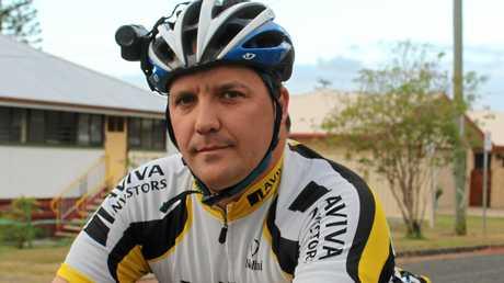 CAUGHT ON FILM: Rockhampton cyclist Brett Ruff with his helmet mounted camera Photo Chris Schwarten / The Morning Bulletin