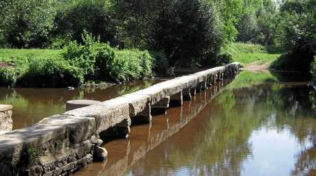 The old Roman footbridge in the middle of Vilhonneur.