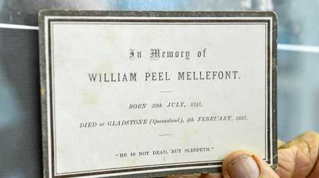 Local man Jimmy Harris found this memorial card belonging to William Peel Mellefont, who revived the Gladstone Observer in 1880.