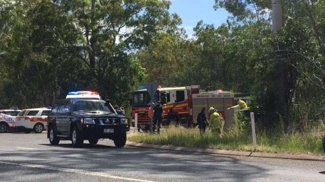 A man is currently being assessed by paramedics after the car he was driving crashed and rolled over along the Dawson Highway at Burua.