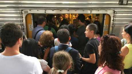 Commuters pile in at Central. Picture: Jeff Darmanin