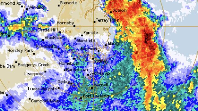 An image from the Bureau of Meteorology radar at around 6am showing the storm that passed over Sydney.