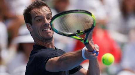 Richard Gasquet on the way to toppling the World No.1 at Kooyong. Picture: Getty Images