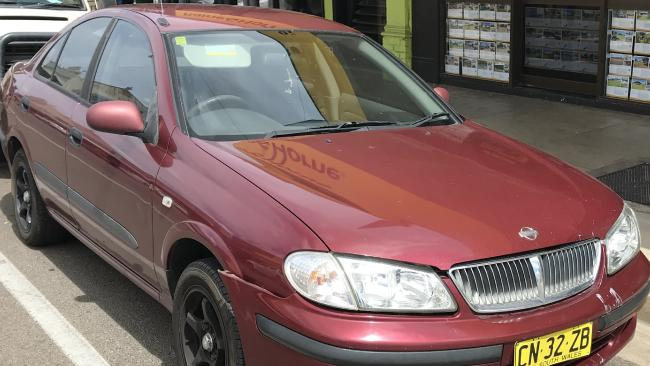 The NSW-registered maroon Nissan Pulsar sedan, which Jayden Penno-Tompsett was travelling in with a friend before he went missing.