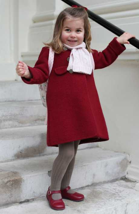 Princess Charlotte of Cambridge leaves for her first day of nursery at the Willcocks Nursery School. Picture: AFP.