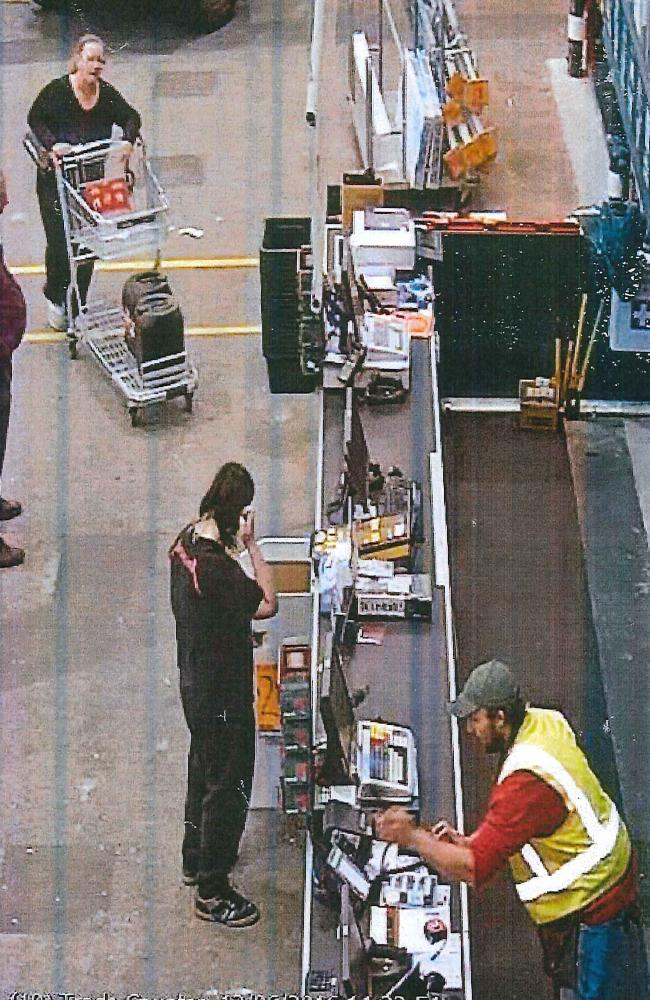 Trudi Lennon, top left, buying hydrochloric acid from Bunnings the day before the murder. Picture: WA Police.