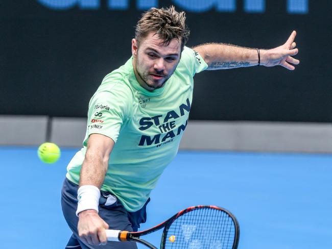 Australian Open. Stan Wawrinka practice on Rod Laver Arena. Picture: Tim Carrafa
