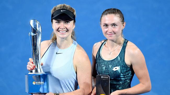 This year's Brisbane International winner Elina Svitolina with runner-up Aliaksandra Sasnovich. Pic: Getty Images