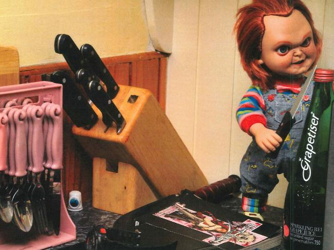 Jemma Lilley's Chucky doll in the murder house's kitchen in Perth.