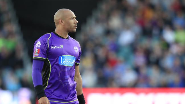 Tymal Mills of the Hurricanes prepares to bowl. Picture: AAP