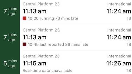 The TripView app was showing delays of up to 73 minutes on some scheduled services from Sydney's CBD to the airport.