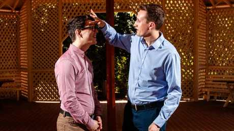 Andrew Chatterton (right) and James Hemphill will marry at the Adelaide Botanic Garden today.