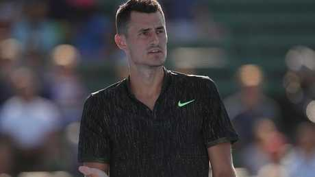 Bernard Tomic in action at the 2018 Kooyong Classic.