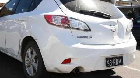 The damaged Mazda 3.