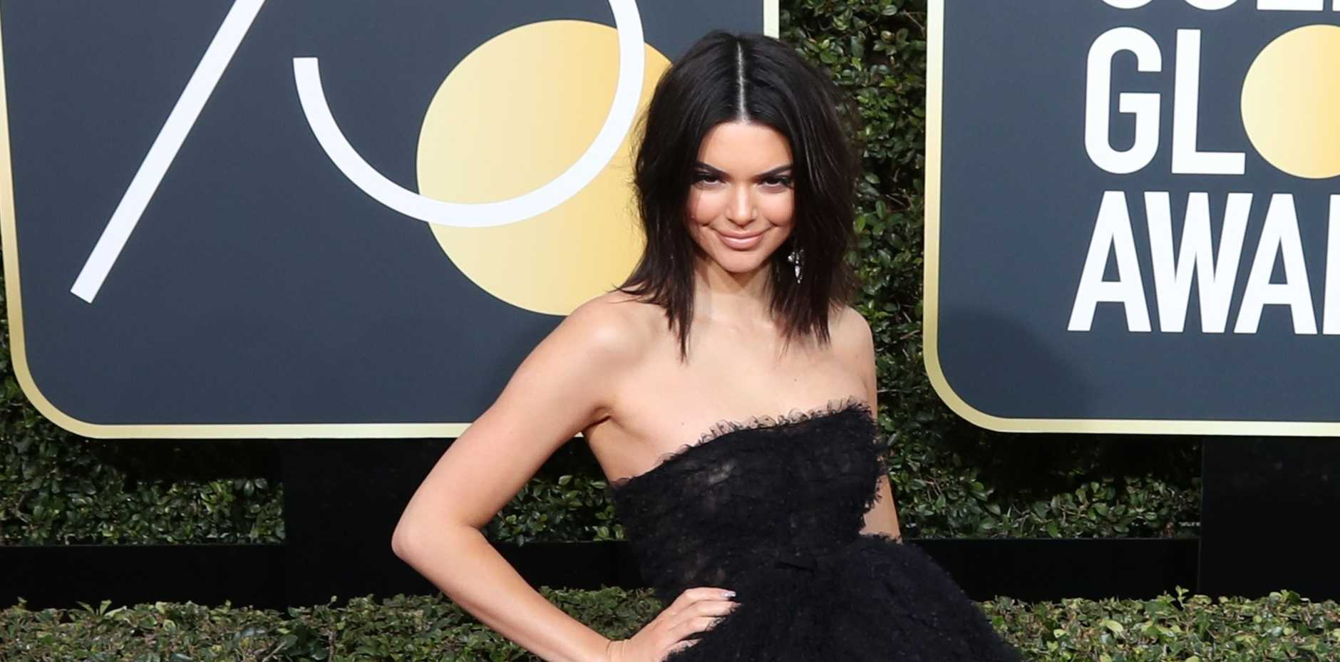 Kendall Jenner arrives for the 75th annual Golden Globe Awards ceremony at the Beverly Hilton Hotel in Beverly Hills, California, USA,