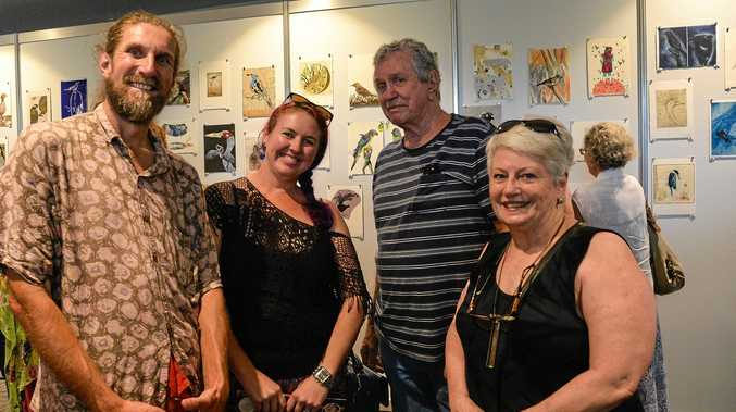 OPENING NIGHT: Contributing artists Peter McLean, Cholena Drew-Hughes and Neville Field with Noela Mills.