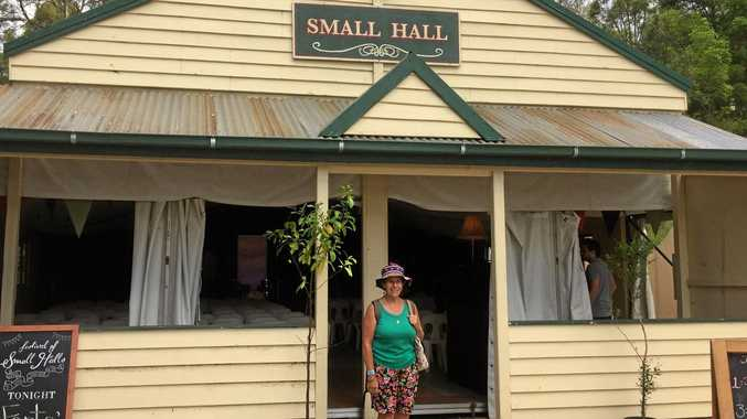 DEGILBO HALL REPLICA: Biggenden's Moira Thompson attended the Woodford Folk Festival to find a quaint and beautiful Small Hall venue, modelled on Degilbo Hall.