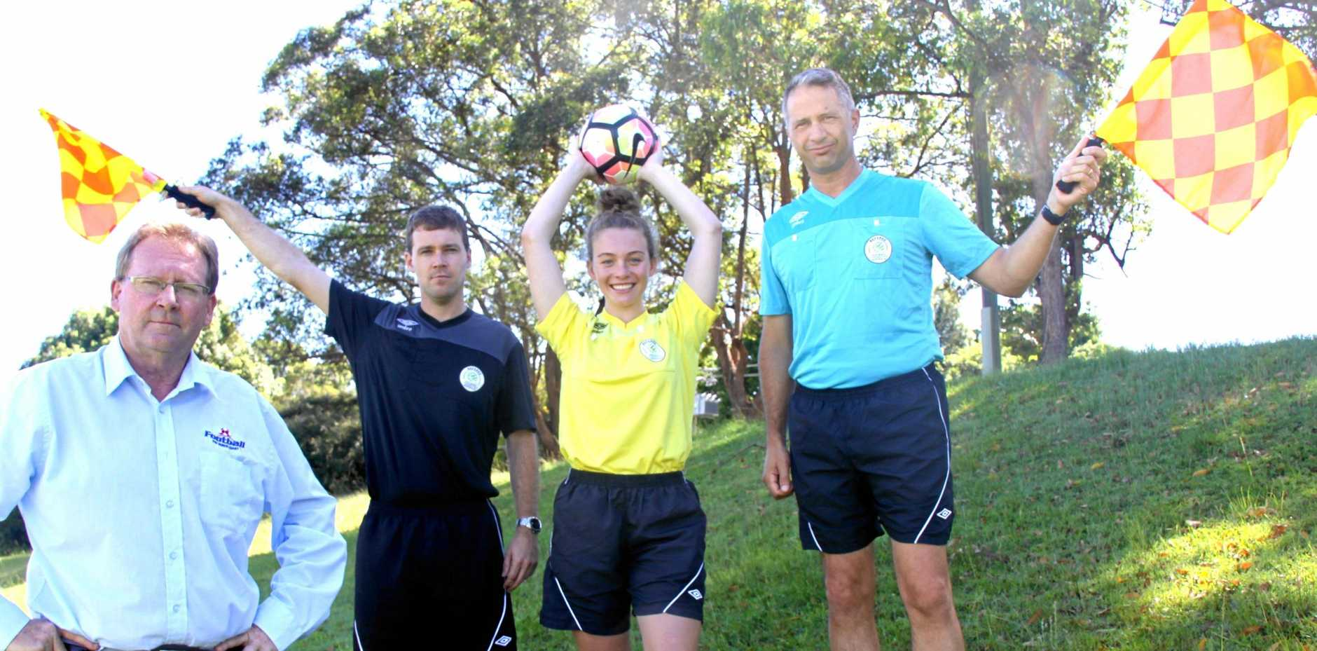 REF RECRUITMENT: Football Far North Coast has commenced a recruitment drive for senior referees to be part of a game which has 7000 players across the region. L-R FFNC general manager Steve Mackney with referees Luke Mackney, Maddie Smith and Anthony Smith.