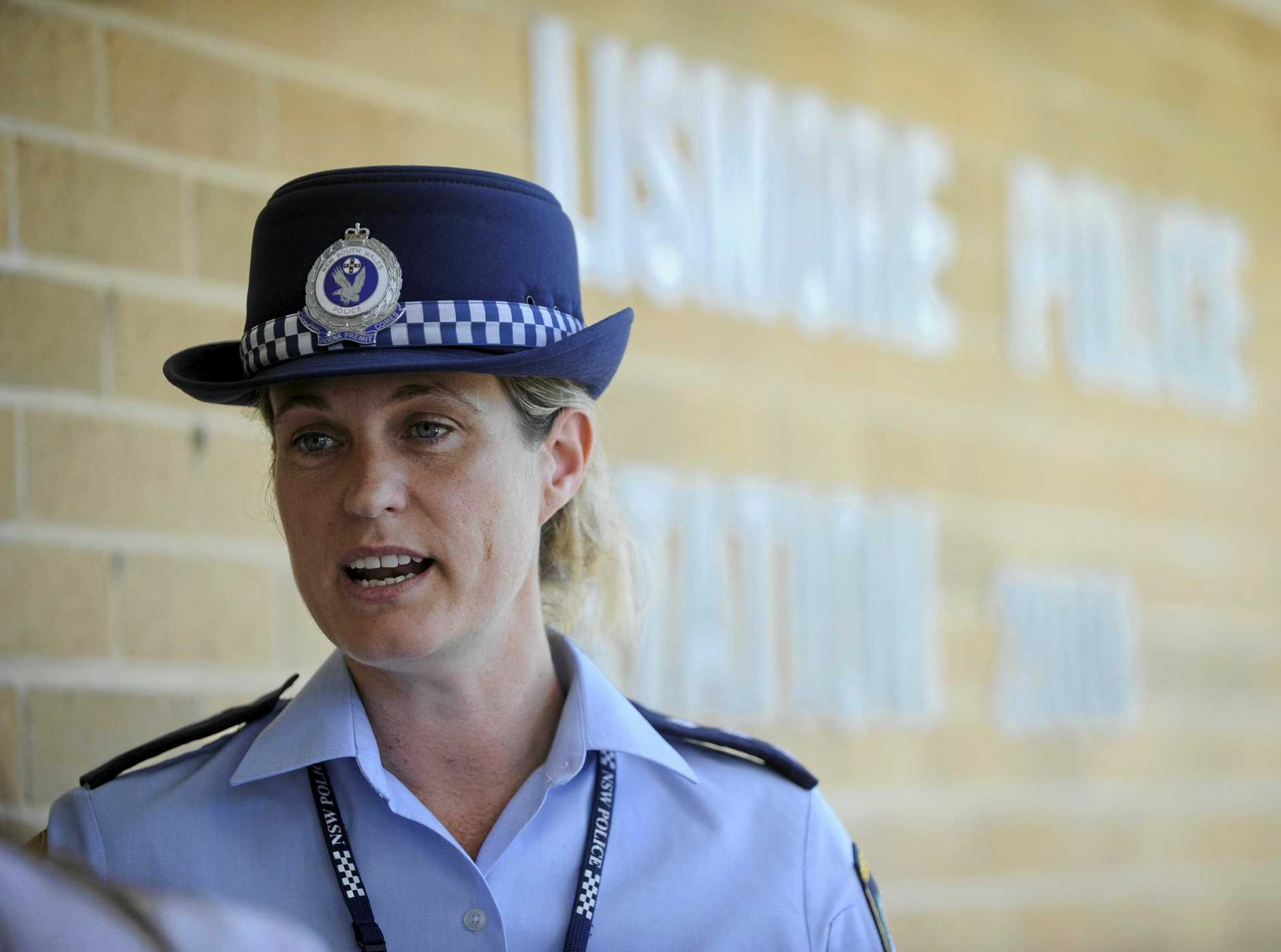 Detective Acting Inspector Bernadette Ingram at a press conference outside Lismore Police Station.