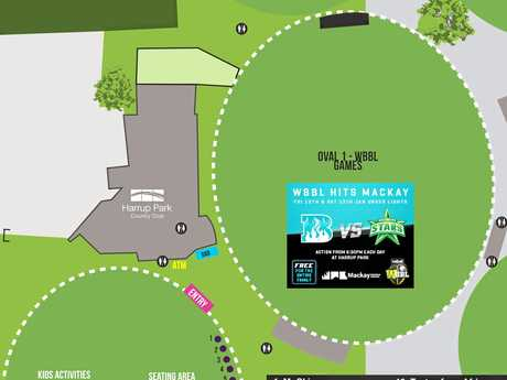 A map showing Eat Street's set-up at Harrup Park on January 12-13 for the WBBL clash between Brisbane Heat and Melbourne Stars.