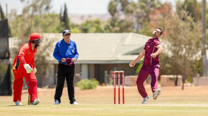 ON SONG: Gladstone's Jason Seng bowling for Queensland Country against South Australia Country at the Australian Country Cricket Championships held in