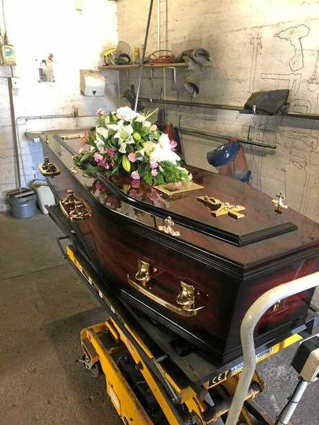 The original casket Mrs Valigura was meant to be cremated in that cost the Rothery family $1700.