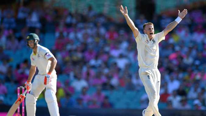 England's Tom Curran appeals for the wicket of Australia's Mitchell Marsh, denied on review, on day 3 of the Fifth Test match between Australia and England at the Sydney Cricket Ground on Saturday, January 6, 2018.