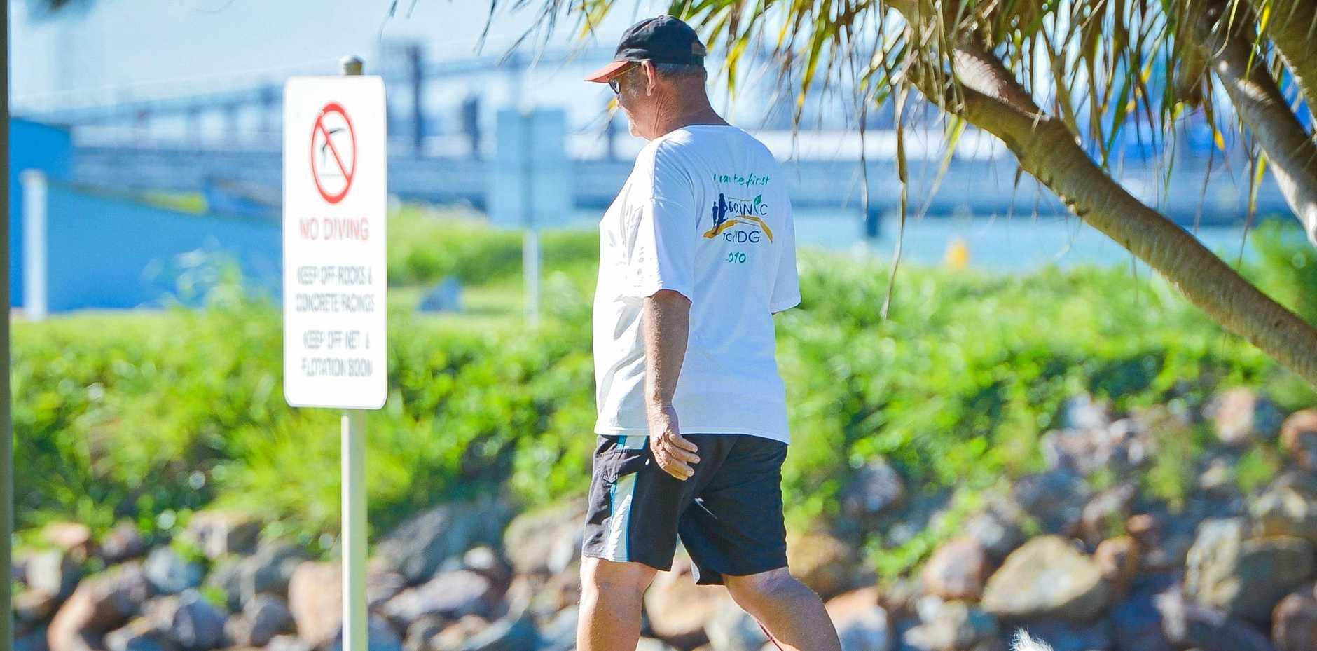 Bob Green walks Amy at Spinnaker Park 7 days a week.