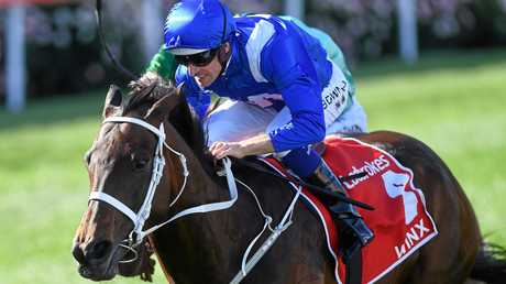 Hugh Bowman rides Winx to victory in the 2017 Cox Plate.