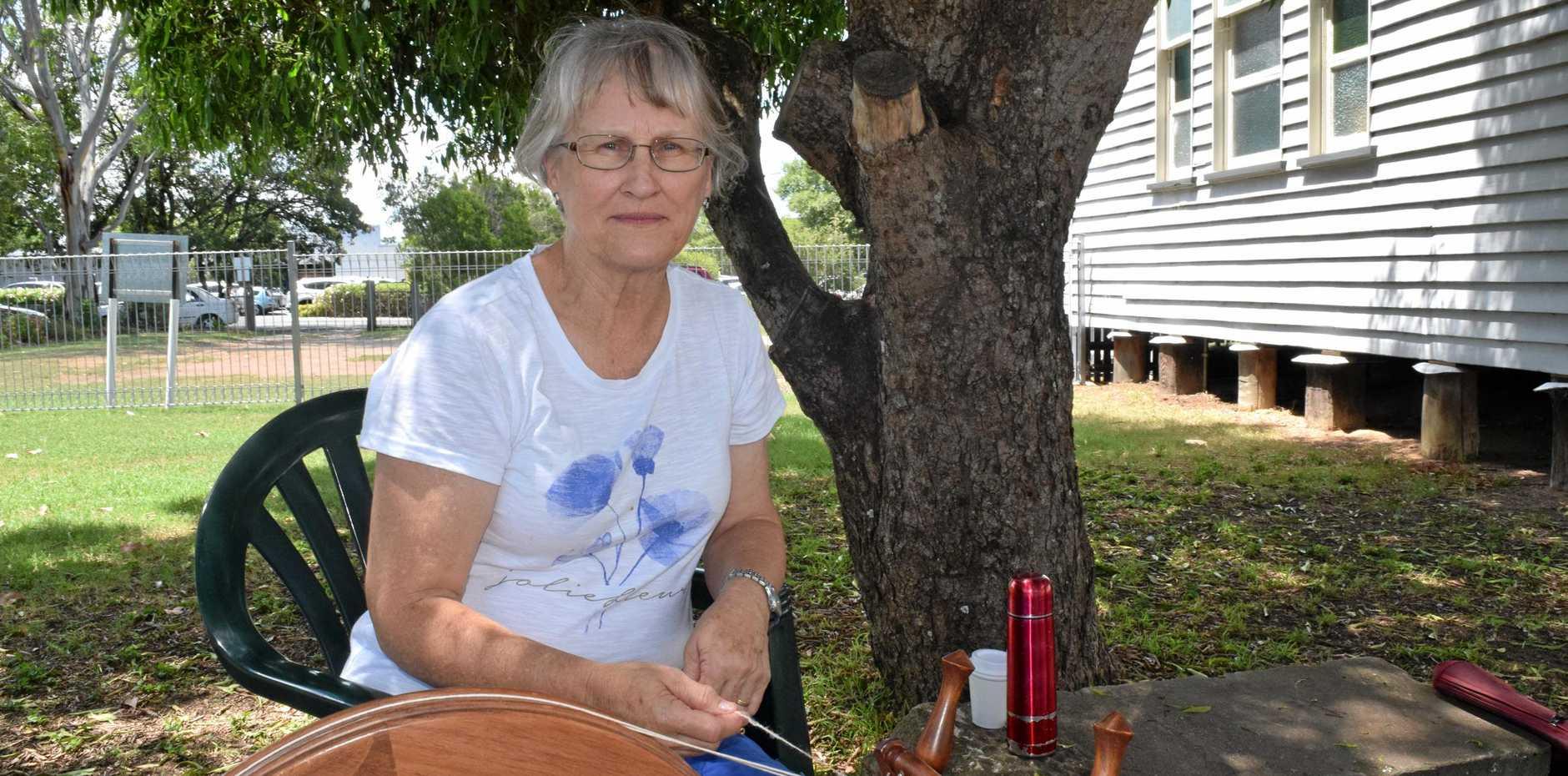 CANADIAN EXPAT: Janice Flood spins a yarn.