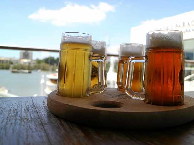 A taste-testing tray of beer.