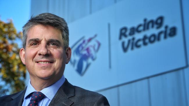 Racing Victoria chief executive Giles Thompson says the trainers charged will know soon whether they will be stood down or not. Picture: Hamish Blair