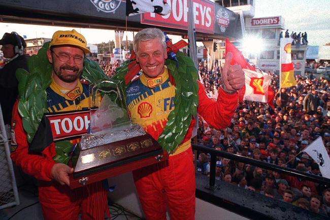Bowe and Dick Johnson celebrating their 1994 Bathurst 1000 win.