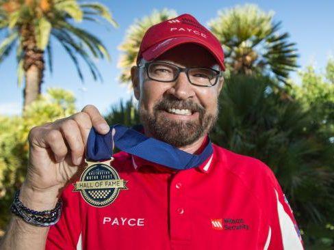 John Bowe with his Australian Motor Sport Hall of Fame medallion.