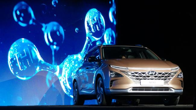 The Hyundai Nexo hydrogen car is heading to Australia by the end of this year. Picture: AFP PHOTO / Rob Lever.