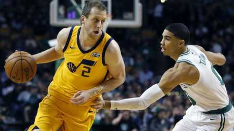 Ingles rocks Utah's delicious 'Statement' jersey in a clash with the Boston Celtics and boom rookie Jayson Tatum. Picture: AP