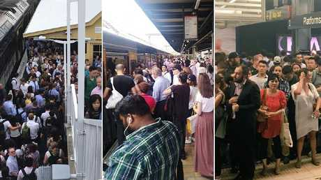 'Shambolic'...the scene at several Sydney stations this morning.