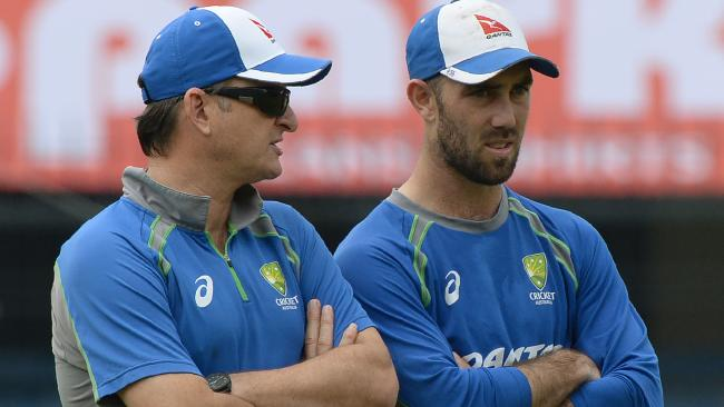 Glenn Maxwell (right) and team selector Mark Waugh. Picture: AFP