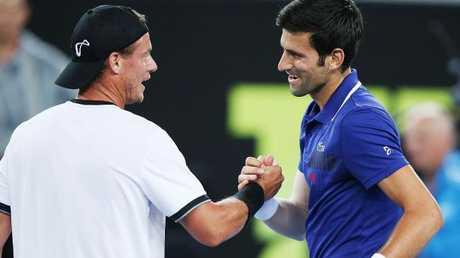 Lleyton Hewitt defeated Novak Djokovic in Tie Break Tens. Picture: Getty