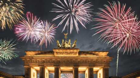 Fireworks at Berlin's Brandenburg Gate.