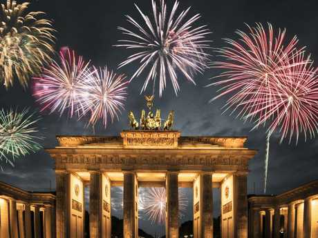 Fireworks at Berlin's Brandenburg Gate.