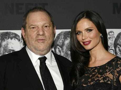 producer Harvey Weinstein, left, and his wife, fashion designer Georgina Chapman attend the Museum of Modern Art Film Benefit Tribute to Quentin Tarantino in New York