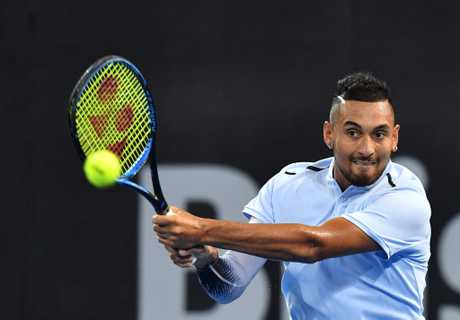 Nick Kyrgios of Australia in action against Ryan Harrison of the USA during the men's Final at the Brisbane International Tennis Tournament in Brisbane.