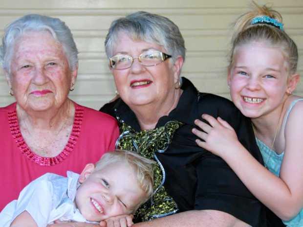 THREE GENERATIONS: Great grandmother Stella Buckley, grandma Sandra Hinschen, Josie, and little Mitchell.