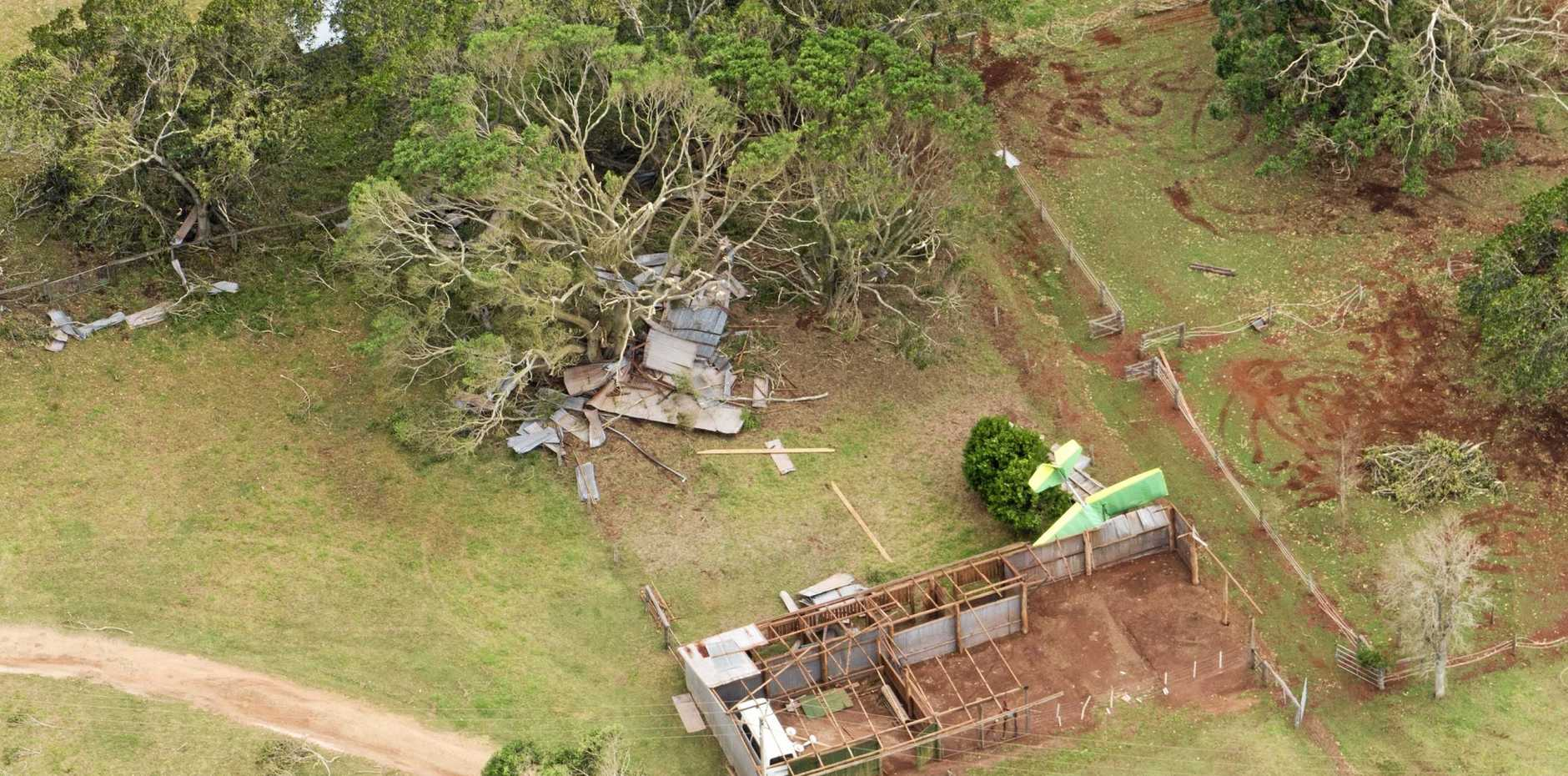 BOXING DAY BLITZ: The storm ripped an aircraft out of its hanger on a property near Kumbia.