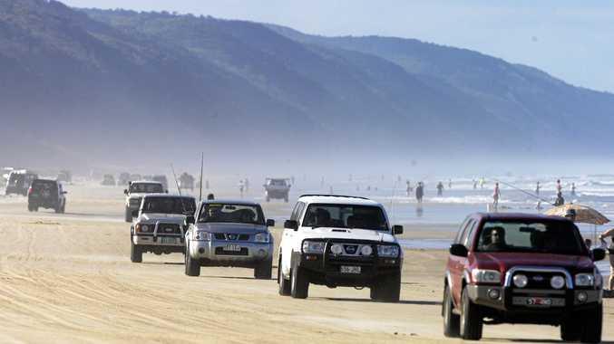 FULL ON: Traffic at Teewah on Noosa's North Shore