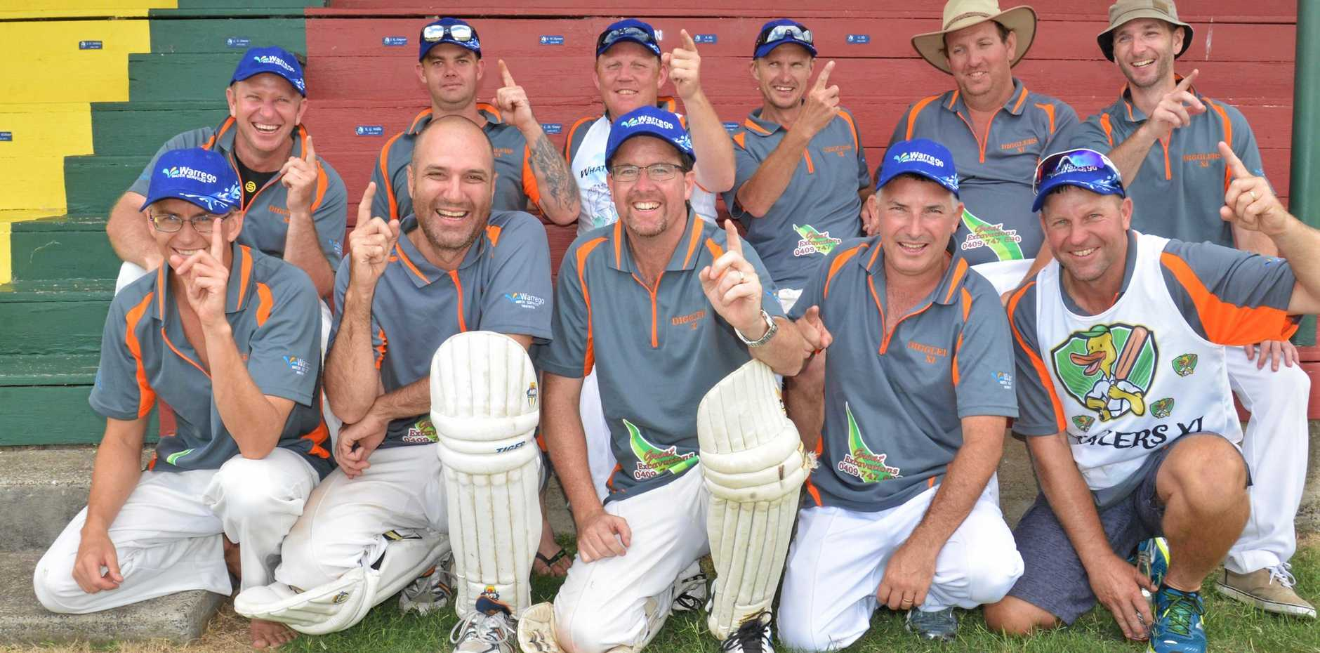 SOCIAL WINNERS: Digglers (back, from left) Mark Grayson, Dion Galloway, Mark Gillespie, Maurice Monckton, Andrew Boal, Adam Fowler, (front) Ken Gee, Steve Gander, Darren Costello, Brad Ready and Mark Fischer after a win in their 20th carnival appearance last season. They are one of nine social teams in this month's carnival.